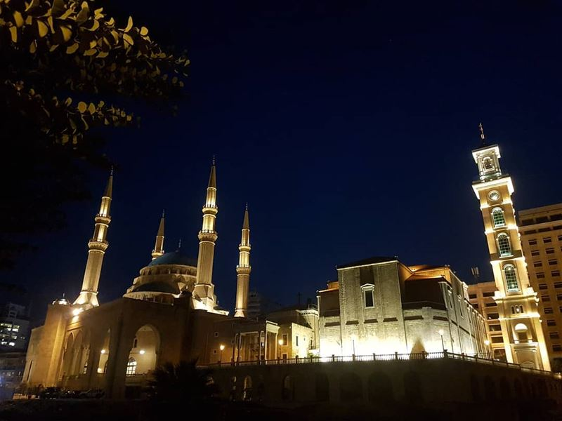 picoftheday world lebanon night lights mosque church photography life...